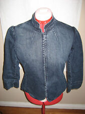 BEBE Cotton Blend Blue Denim 6 Clasp Closure 3/4 Sleeve Jacket - Size - Medium