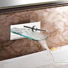 Bathroom Faucet Glass Waterfall Chrome Barss Wall Mounted Basin Mixer Taps