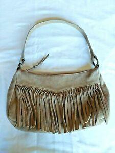 Vintage Boho Hippie Suede Leather Fringe Purse/Handbag
