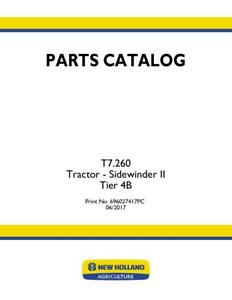 NEW HOLLAND T7.260 TRACTOR SIDEWINDER II TIER 4B PARTS CATALOG