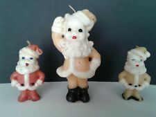 3 vintage Gurley Santa candles some label tall and short gold red