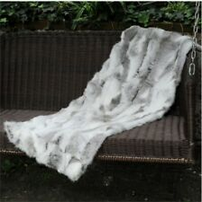 Real Rabbit FUR Throw Blanket Patchwork Skin Fur Rug Pelz Leather Pelt 1.8'x3.3'