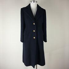 Vintage melton Navy Blue Wool Women's M Coat crest gold buttons