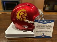Sam Darnold Autographed USC Trojans Chrome Mini Helmet Witness Beckett Jets