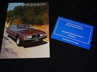 Peugeot 604 1977 Folleto Ventas Gb & Serie Lista de Precios Agosto 1976/1977
