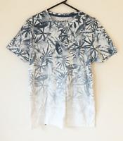 Connor Blue Floral Men's Cotton T-Shirt Size M Long Length Casual Party