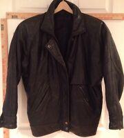 Men's Med Black Leather Jacket