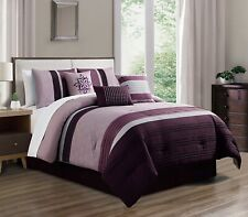 7Pc Queen Purple White Pin Stripe Embroidered Comforter Set Bed in a Bag