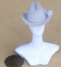 1:12 Scale Light Grey Cowboy Hat Doll House Miniature Clothing Accessory W Band