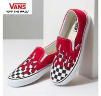 VANS Checker Flame Slip on Red Street Style Fashion Sneakers,Shoes Black Women's