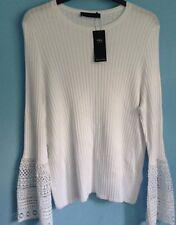Ladies Jumper M&s per Una Size 22 Ivory Mix Stripes