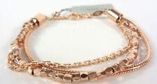 NEW FOSSIL ROSE GOLD TONE,MULTI STRAND BEADS+CHAIN BRACELET JOA000907