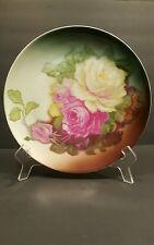 """ANTIQUE PORCELAIN PLATE GERMAN ZEH SCHERZER ROSES ZS&CO BAVARIA Pink Roses 9.5"""""""