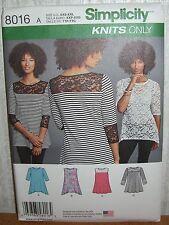 Womens/Misses Pullover Knit Tops Sewing Pattern/Simplicity 8016/SZ XXS-XXL/UCN