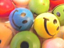 10 or 20 assorted 25mm wood emoji doll face beads  craft jewellery embellishment