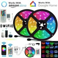 5/10/15M Smart WIFI LED Strip Light 5050 3528 SMD RGB Controller Power Full Kit