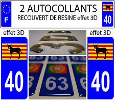 2 stickers plaque immatriculation auto DOMING 3D RESINE Ane Catalan Burro DEP 40