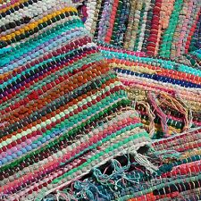FAIR TRADE INDIAN RAG RUG 90 x 150cm (3' x 5') Recycled Cotton, Multicoloured...