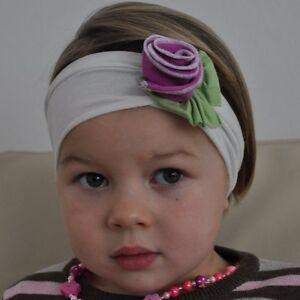 Baby Kinder Stirnband Rose Blume Blüte Haarband Mädchen Haarschmuck lila weiß
