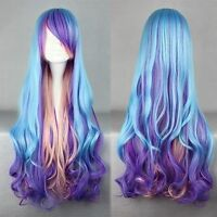 Fashion Long Charm Lolita Curly Wavy Color Mixed Anime Cosplay wig Free ship