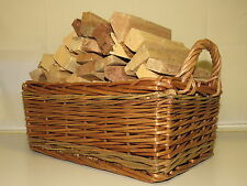 "Kindling Wood Basket - 12"" Wicker Kindling Basket - Kindling Log Storage"