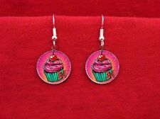 CUPCAKE BAKER SWEETS CAKE BOW CHERRY FROSTING EARRINGS