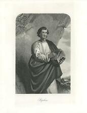 ANTIQUE BIBLICAL SAINT STEPHEN SORROW HOLDING STONE ENGRAVING OLD ART PRINT