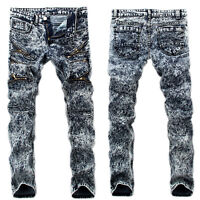 Men's Ripped Skinny Biker Jeans Destroyed Frayed Slim Fit Denim Pants