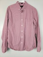 J. Crew Men's Button Down Shirt Size Large L Slim Fit Untucked Gingham Red