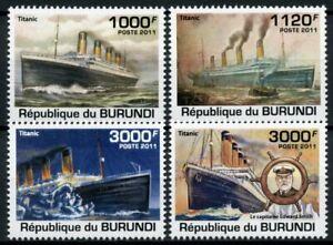 Burundi Ships Stamps 2011 MNH Titanic 100th Anniv Boats Nautical 4v Set