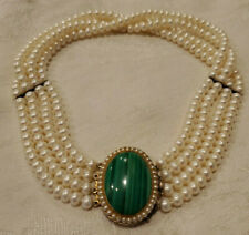 CHINESE STERLING SILVER GENUINE PEARL 4 STRAND NECKLACE