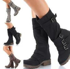 Womens Winter Mid Calf Buckle Biker Ladies Cool Punk Military Combat Boots Shoes