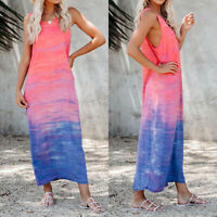❤️ Women Summer Casual Long Maxi Dress Ladies Print Beach Sleeveless Sun Dresses