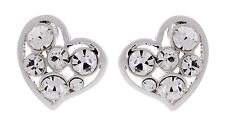 CLIP ON EARRINGS - silver plated heart earring with clear crystals - April S