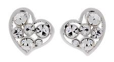 Pendientes De Clip-pendiente de Corazón de Plata Plateado Con Cristales Claro-abril S