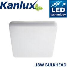 Kanlux Square Flush Mount Bulkhead LED Ceiling Light Waterproof 18W Warm White