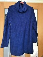 ROYAL BLUE CHUNKY THICK KNIT ROLL POLO NECK JUMPER DRESS SIZE MEDIUM 12-14 NEW