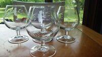 Princess House Heritage Brandy Snifters Cognac glasses 4 10 oz stems