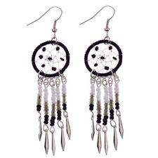 Boho Long Bead Drop Dreamcatcher earrings Black, White & Silver *UK Seller*
