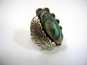 Gorgeous Vintage Ring: Feather Design w/ Abalone Stunning 925 Silver Size 6.5