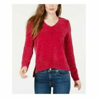 Maison Jules Women's Chenille V-Neck Red Zenith Sweater Size XX-Small MSRP $49