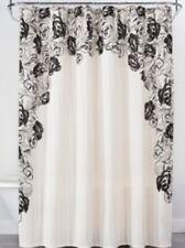 Opalhouse Black Cream Floral Print Edge  Cotton Fabric Shower Curtain Nwop