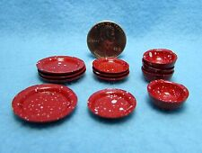 Dollhouse Miniature Dish and Bowl Set / Dinnerware in Red Spatterware ~ MA1166R