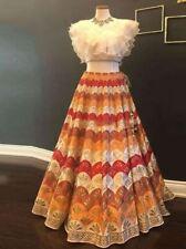 Printed lehenga choli heavy Golden Zari silk Lengha Crop top Dress Sari Saree