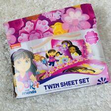 Dora & Friends Twin Sheet Set (Flat & Fitted Sheet & Pillowcase)