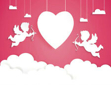 7x5ft Valentines Heart Cupid Angels and Cloud Vinyl Backdrop Photo Background LB