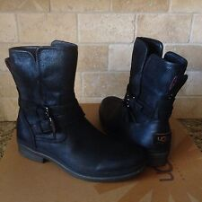 UGG SIMMENS BLACK WATERPROOF BOMBER LEATHER SHEEPSKIN ANKLE BOOTS SIZE 6 WOMENS