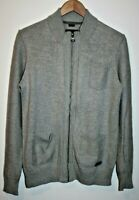 S.Oliver Men's Zip Cardigan Acrylic Designer Grey Side Pockets Kitted Size M
