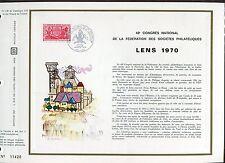 DOCUMENT CEF PREMIER JOUR  1970  TIMBRE N° 1642 CONGRES PHILATHELIQUES LENS