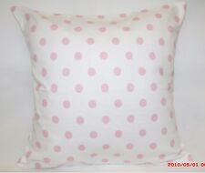 "2 X 16"" CLARKE & CLARKE, WHITE AND PINK POLKA DOT CUSHION COVER"